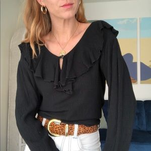 Vintage Black Ruffle Top